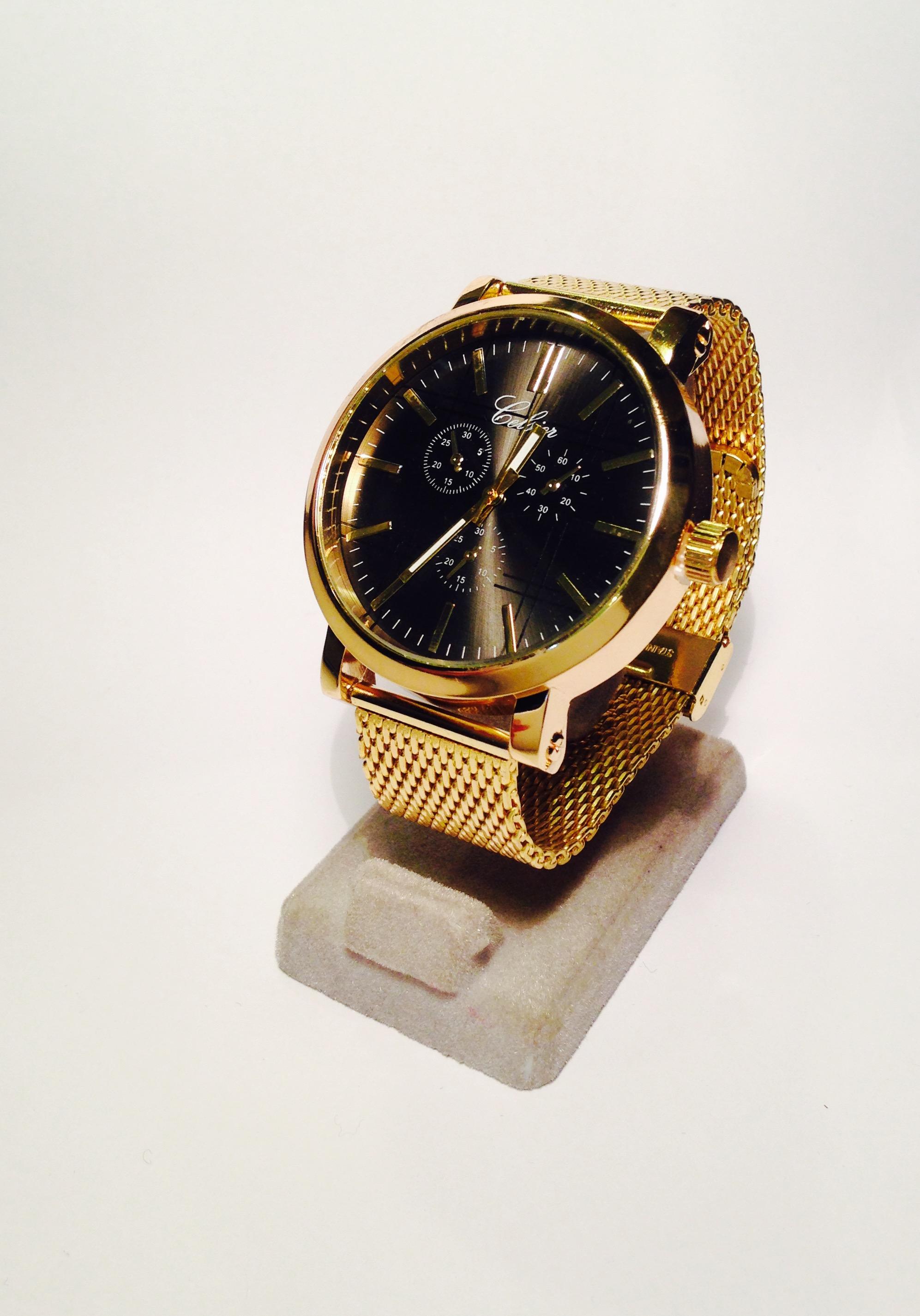 a6a0019a401fe Montre homme cadran rond,noir bracelet plaqué or,garantie 2 ans  mouvement,plaquage,pile