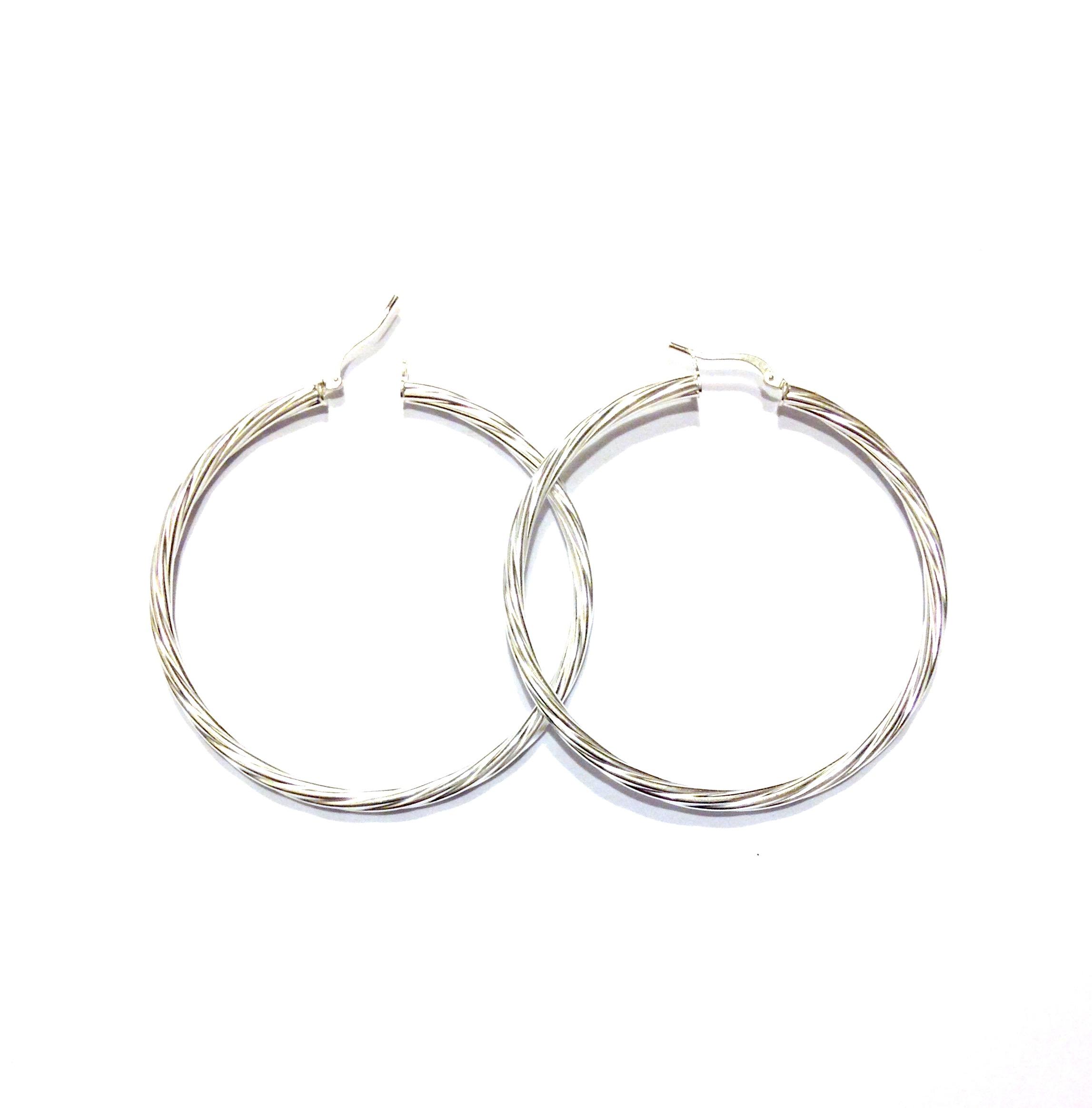 Boucles d oreilles Créoles torsadées en argent 50mm 6,6g 66fde1391d29